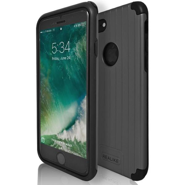 iPhone 7 Plus- Shock Proof Silicone Hard Protective Armour Case - Grey