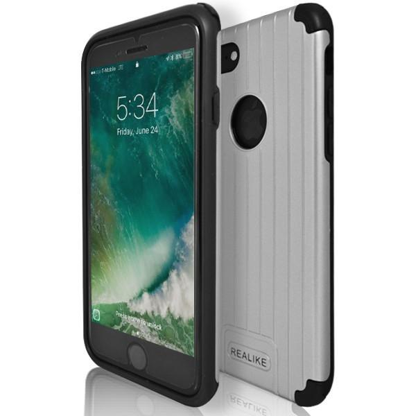 iPhone 7 Plus- Shock Proof Silicone Hard Protective Armour Case - Silver