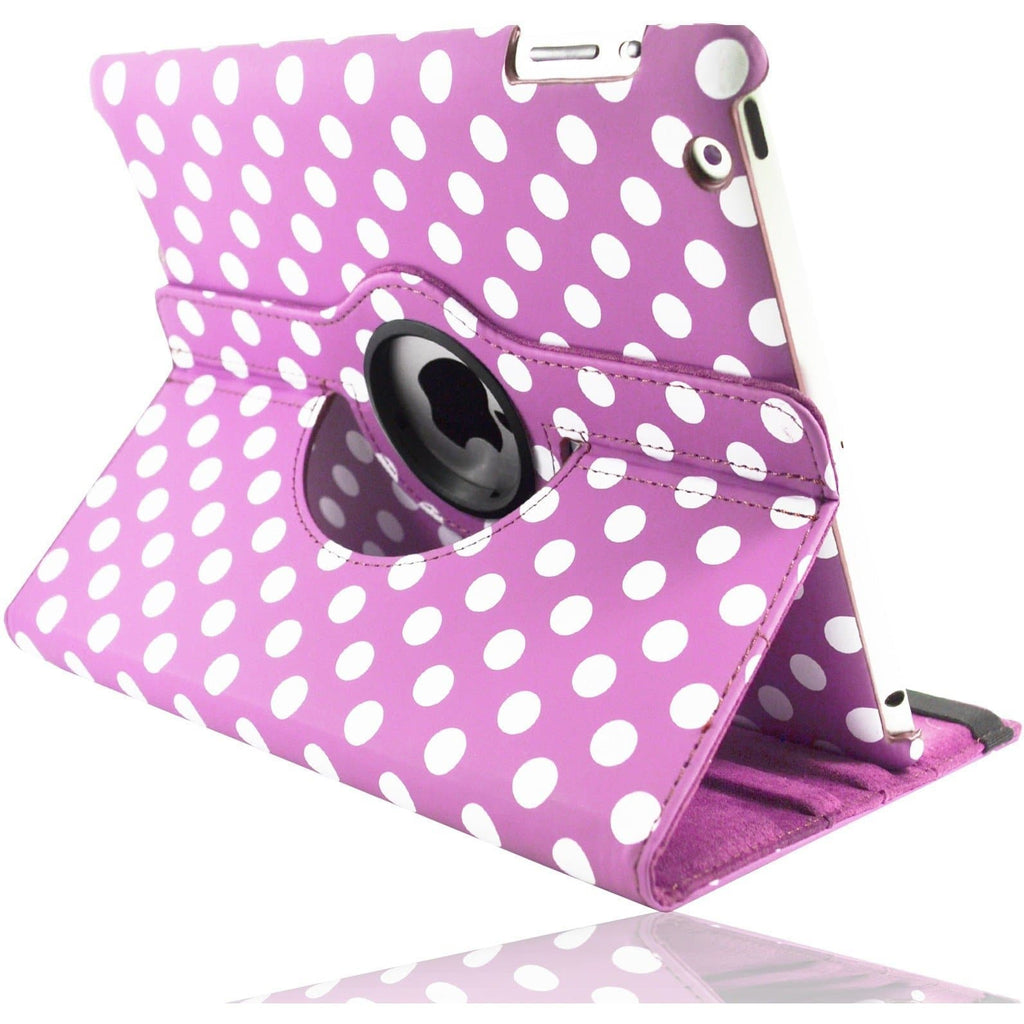 Apple iPad 2 / 3 / 4 - Polka Dot Pu Leather Book Flip Stand Case - Pink