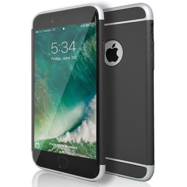 iPhone 6/6S Plus Metal Look Plastic Case - Black