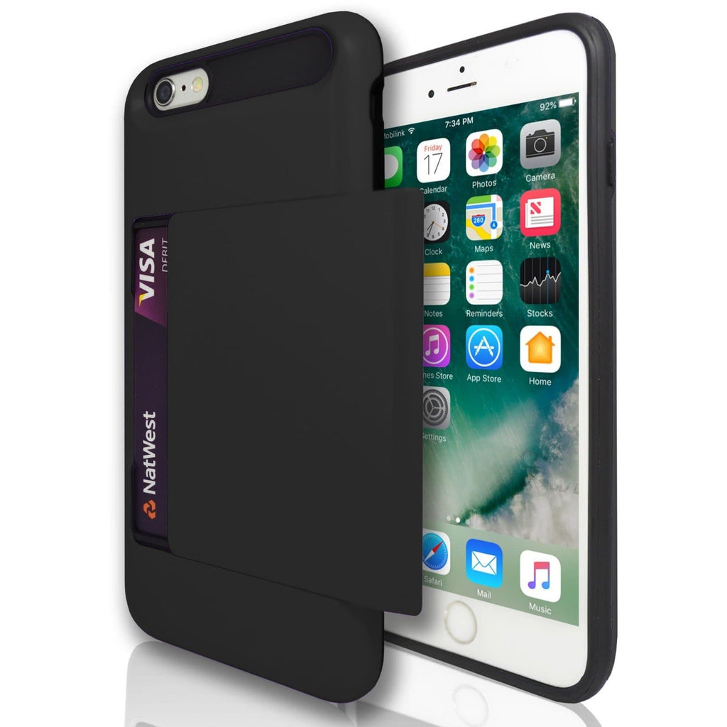 iPhone 7 Plus- Slide Out Card Holder Silicone Case - Black