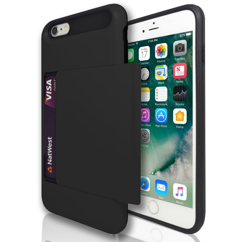 iPhone 6 Plus / 6S Plus - Slide Out Card Holder Silicone Case Black