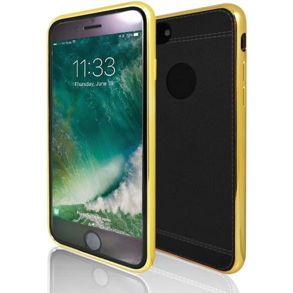 iPhone 7 Case- Protective Leather Look Silicone Case With Bumper- Yellow And Black
