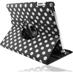 Apple iPad 2 / 3 / 4 - Polka Dot Pu Leather Book Flip Stand Case - Black
