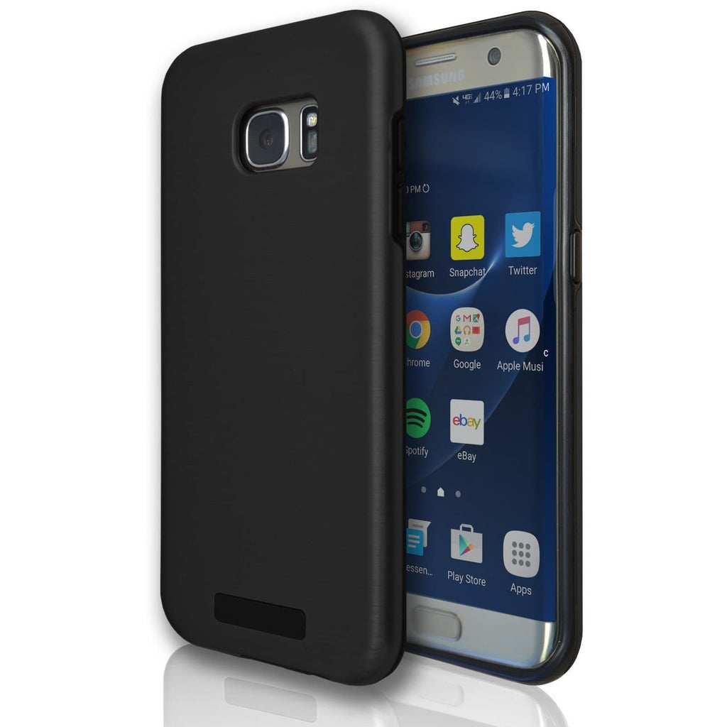 Samsung Galaxy S7 Protective Brushed Silicone Case - Black