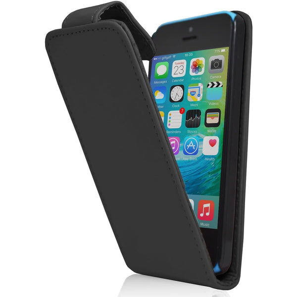 iPhone 5C - Luxury Ultra Slim Magnetic Leather Flip Case Stand - Black