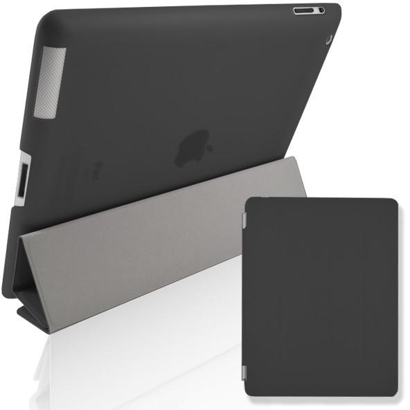Black Leather Magnetic Full Smart Cover + Hard Back Case Stand With Sleep Wake For Apple iPad Air