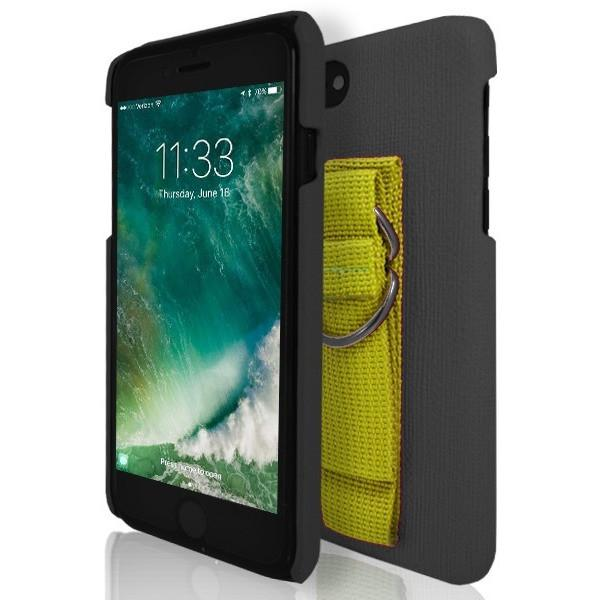 iPhone 7 Case- Protective Silicone With Rear Hand Strap Black