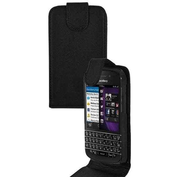 Black BlackBerry Q10 PU Leather Flip Case