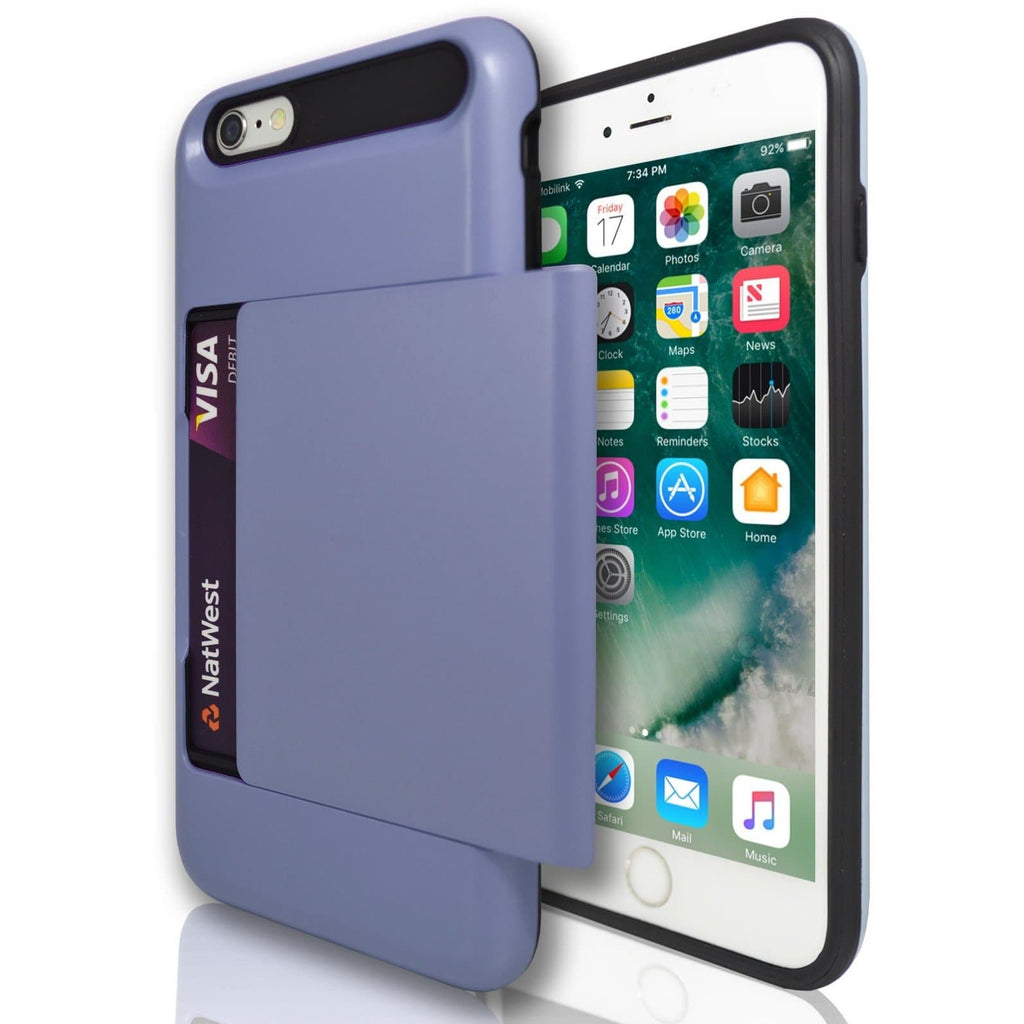 iPhone 7- Slide Out Card Holder Silicone Case Blue