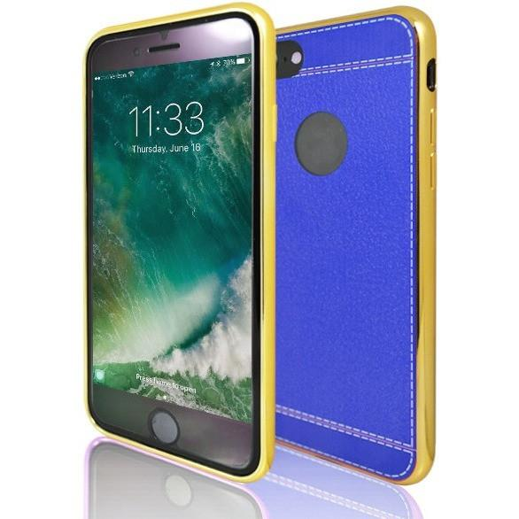 iPhone 7 Plus- Protective Leather Look Silicone Case With Bumper- Yellow And Blue