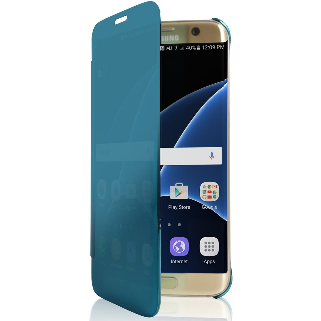 Samsung Galaxy S7 Mirror View Plastic Flip Case Cover - Blue