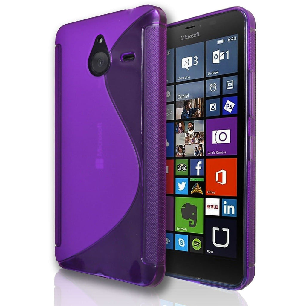 Nokia Lumia 520 S Line Silicone Gel Case Cover - Purple