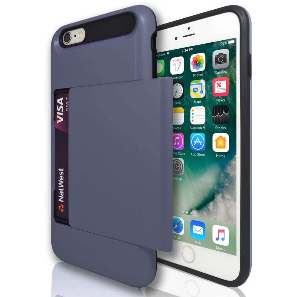 iPhone 6 Plus / 6S - Slide Out Card Holder Silicone Case- Dark Blue