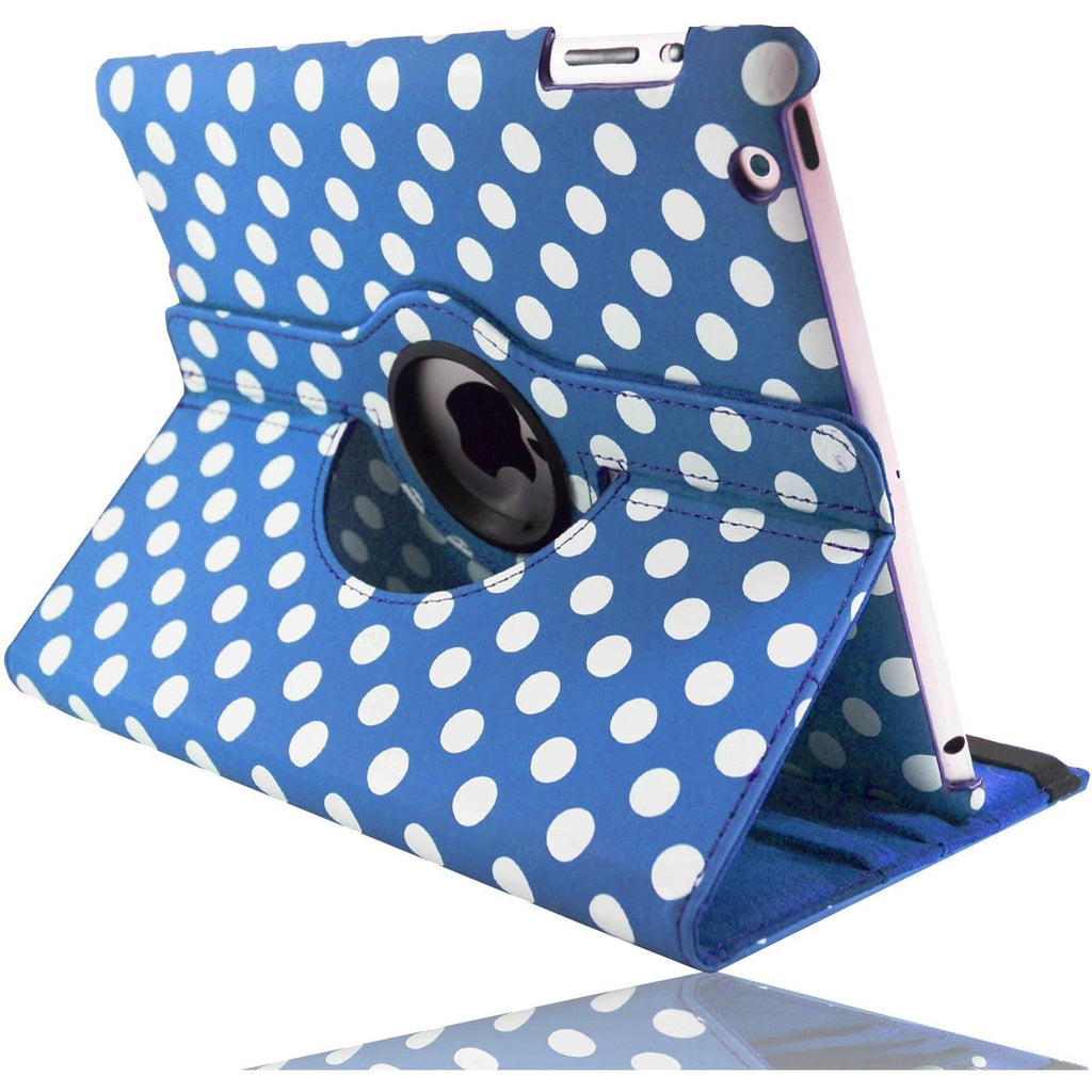 Apple iPad 2, 3, 4 - Dark Blue Polka Dot Pu Leather Case Stand
