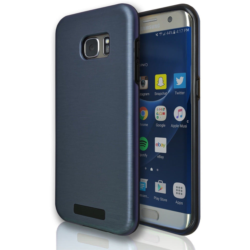 Samsung Galaxy S7 Edge Protective Brushed Silicone Case - Dark Blue
