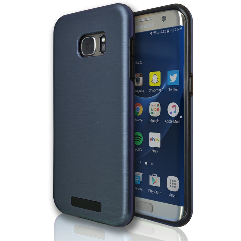 Samsung Galaxy S7 Protective Brushed Silicone Case - Dark Blue