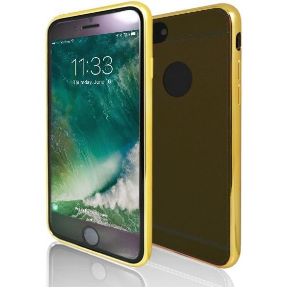 iPhone 7 Case- Protective Leather Look Silicone Case With Bumper Yellow & Dark Brown