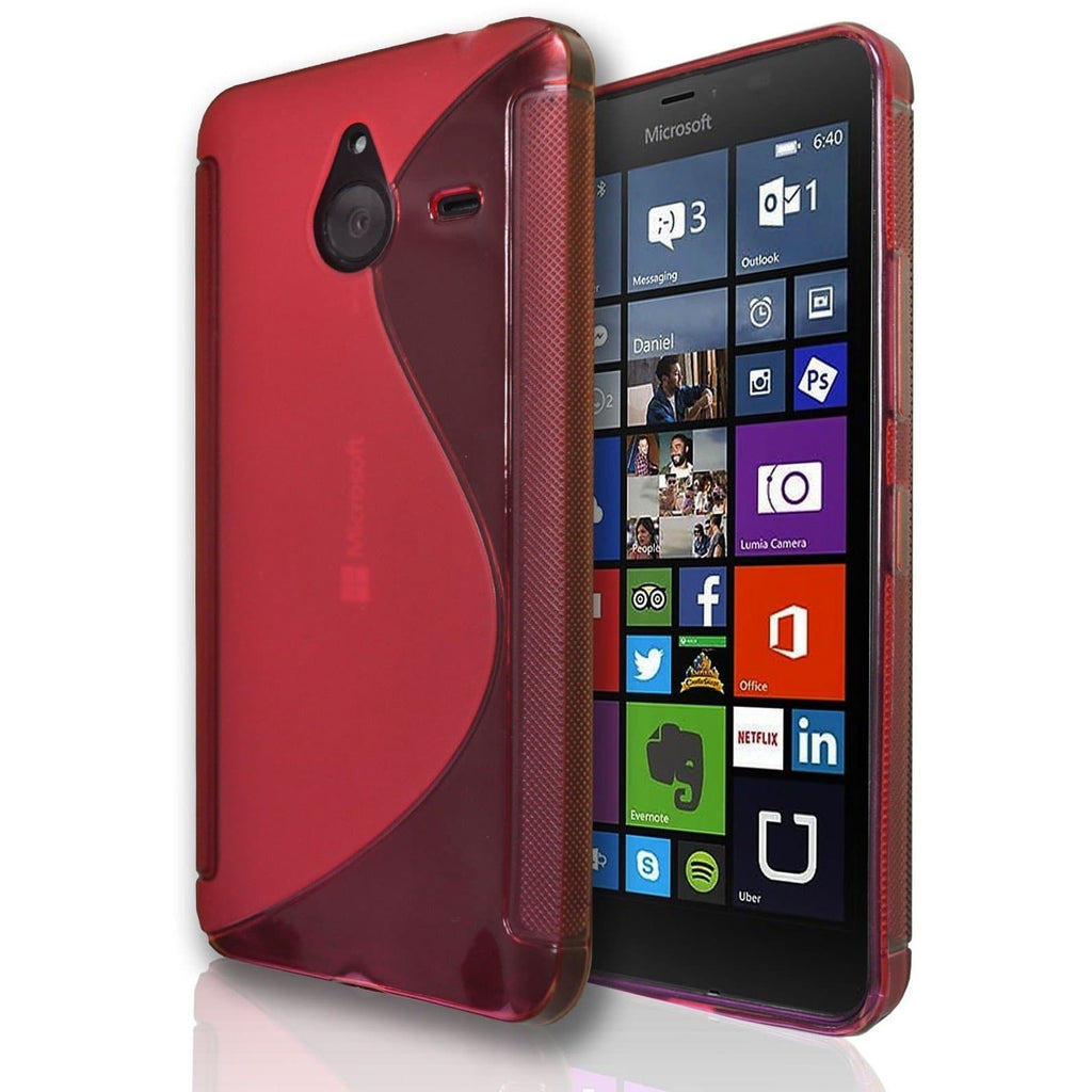 Nokia Lumia 625 S Line Silicone Gel Case Cover - Red