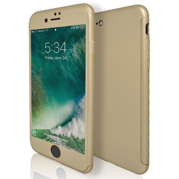 iPhone 8 Case- Front And Back Full Silicone Protective Gold