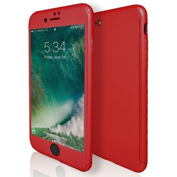 iPhone 7 Plus- Full Cover Protective Case Rear And Screen- Red