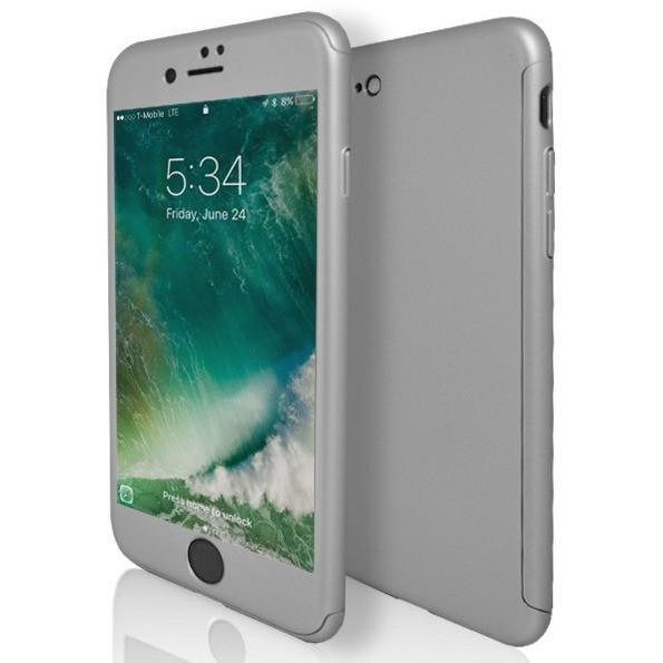 iPhone 7 Case- Front And Back Full Silicone Protective Silver