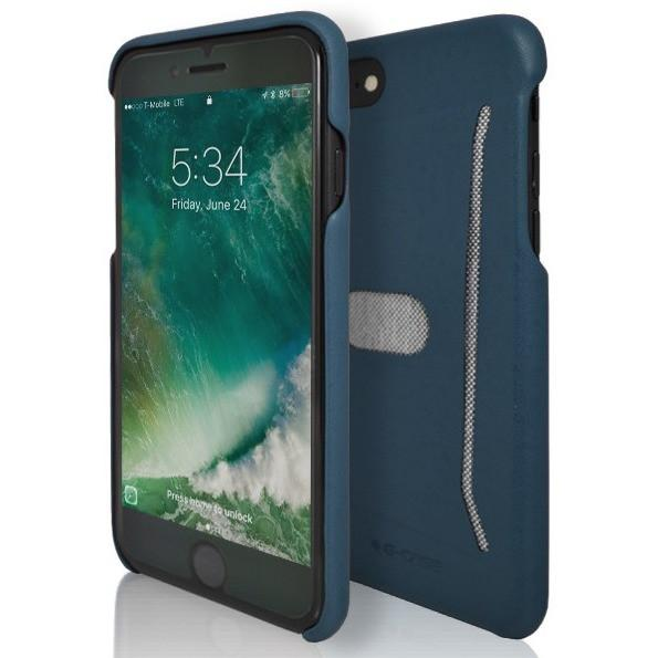 iPhone 7 Case- Silicone Protective Shell Card Holder Blue