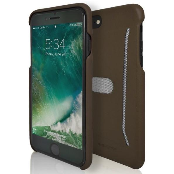 iPhone 7 Case- Silicone Protective Shell Card Holder Brown