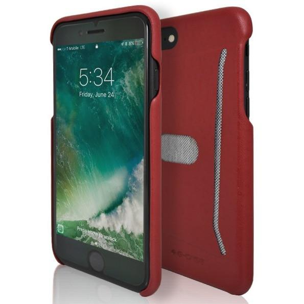 iPhone 7 Case- Silicone Protective Shell Card Holder Red