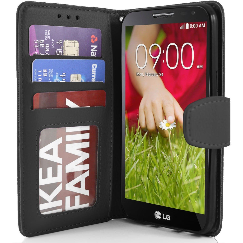 LG G2 Mini PU Leather Wallet Case - Black