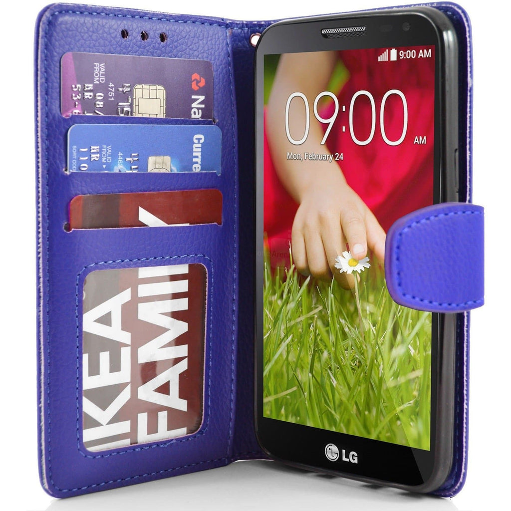 LG G2 Mini PU Leather Wallet Case - Blue