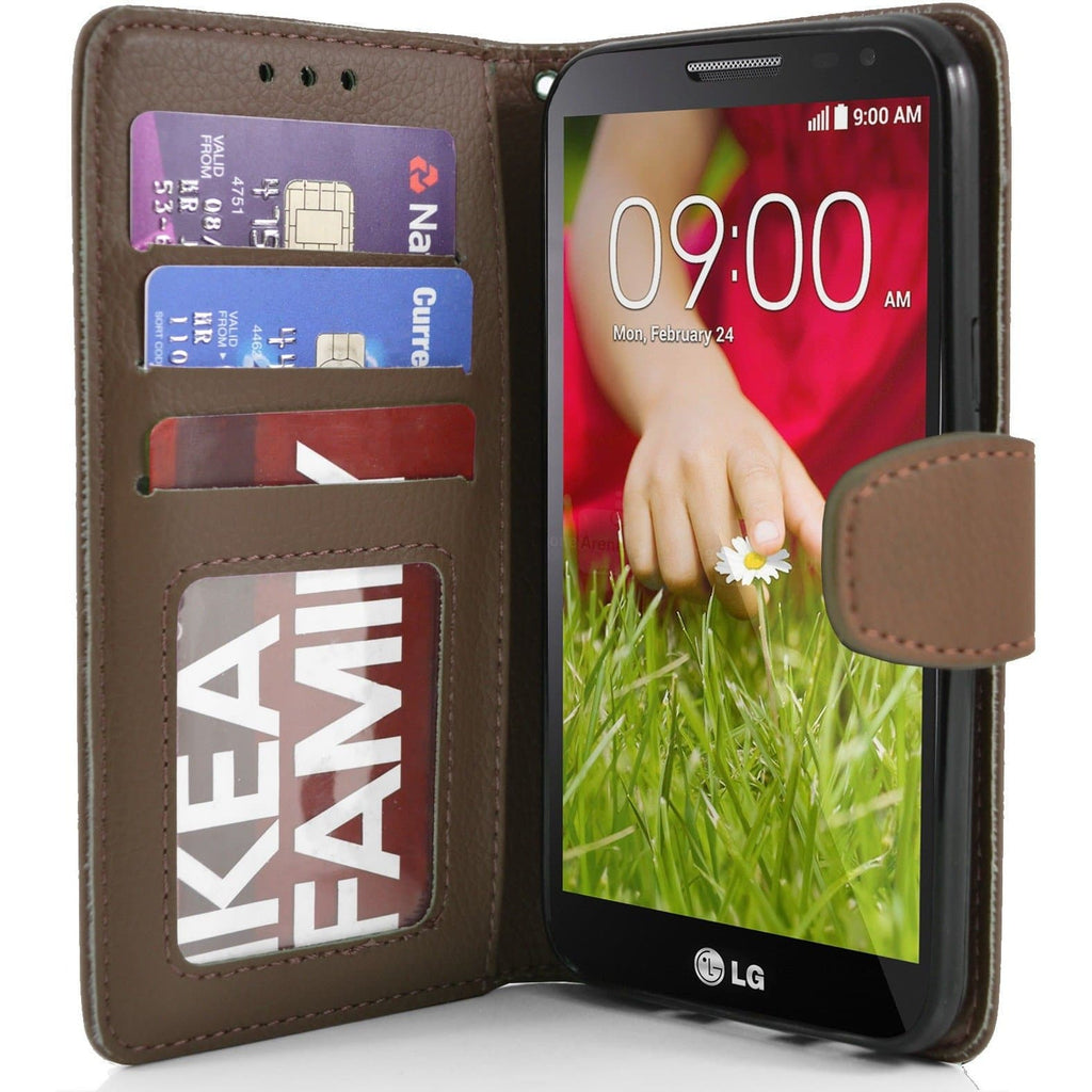 LG G2 Mini PU Leather Wallet Case - Brown