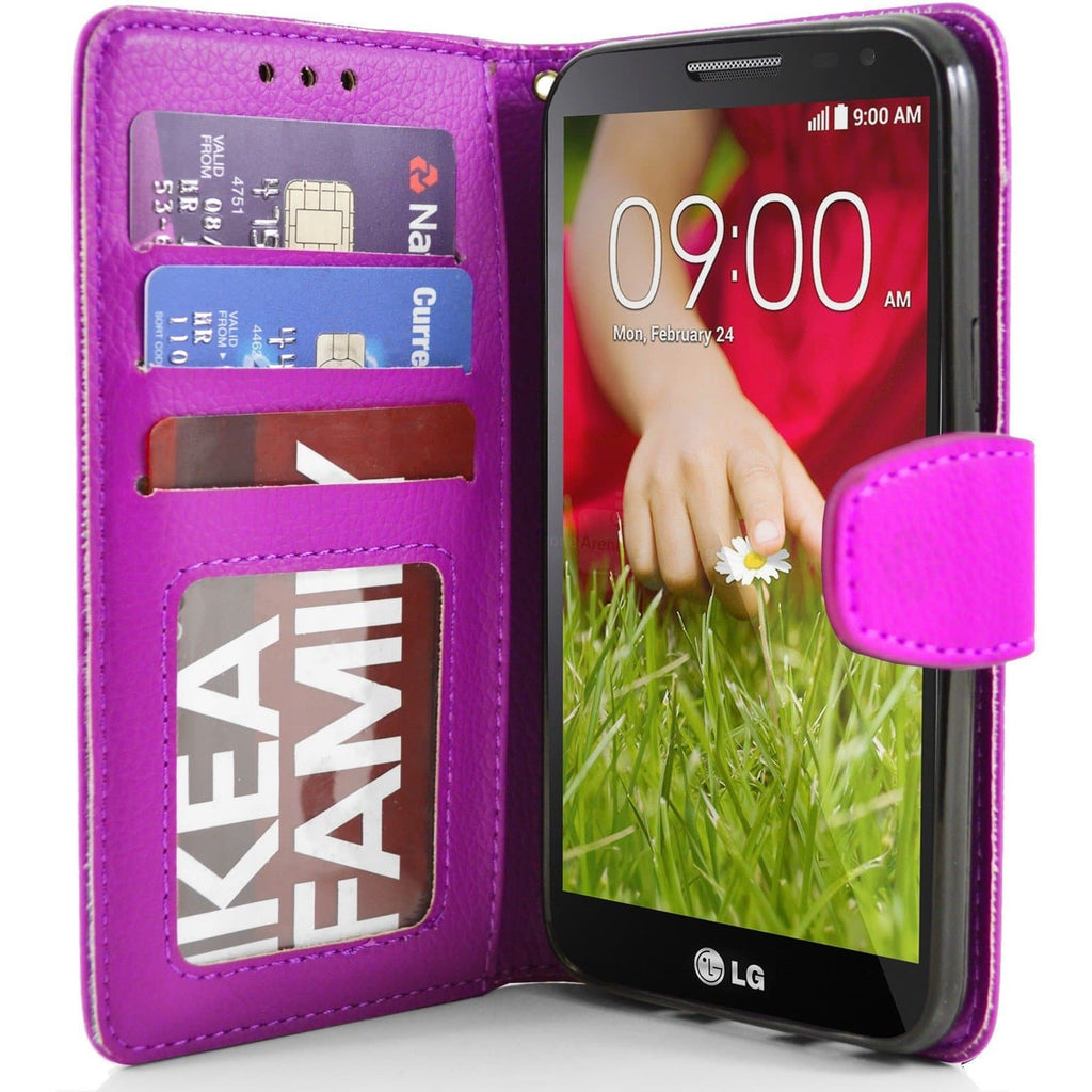 LG G2 Mini PU Leather Wallet Case - Pink