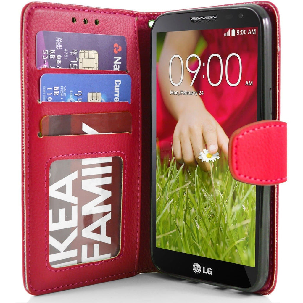 LG G2 Mini PU Leather Wallet Case - Red