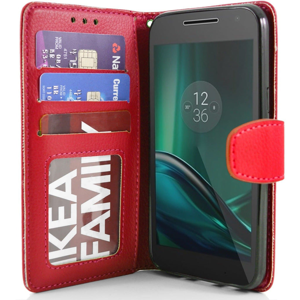 MOTO G4 Play PU Leather Wallet Case - Red