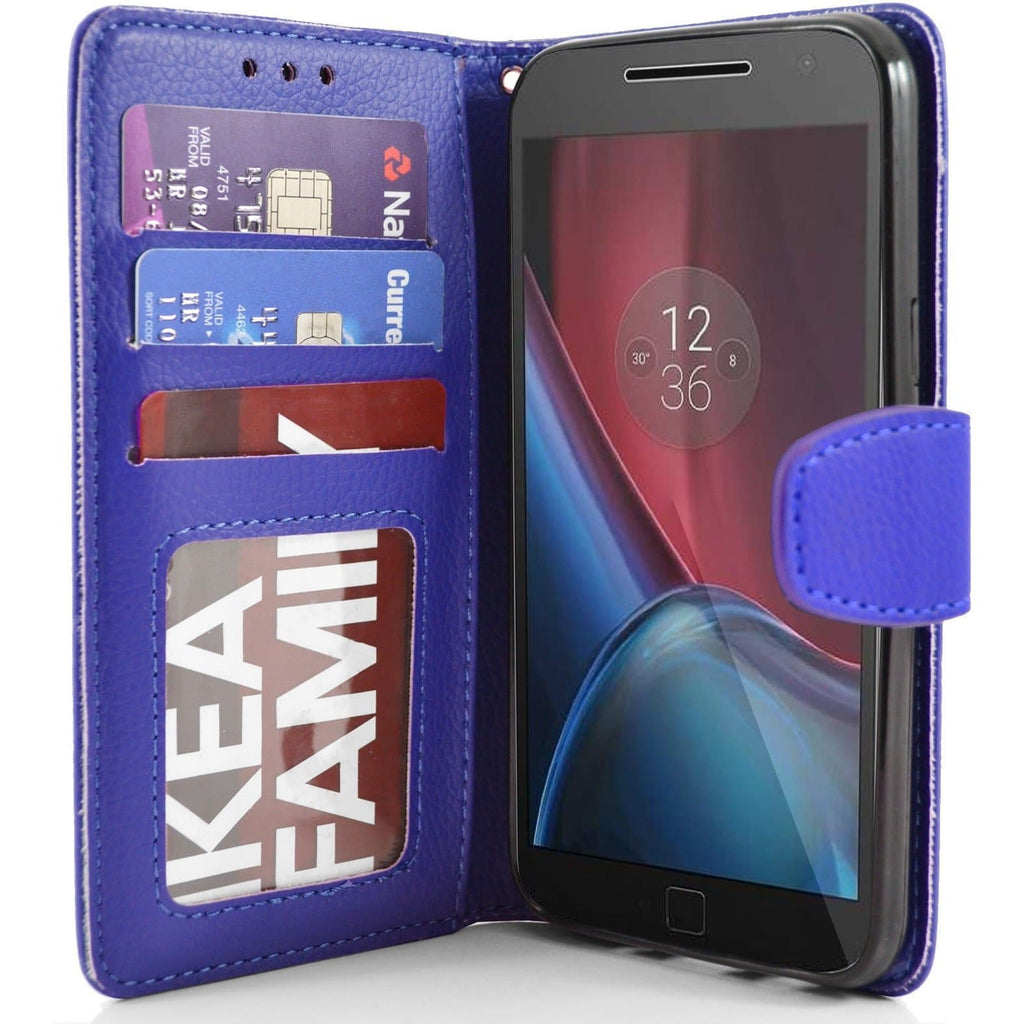 MOTO G4 Plus PU Leather Wallet Case - Blue