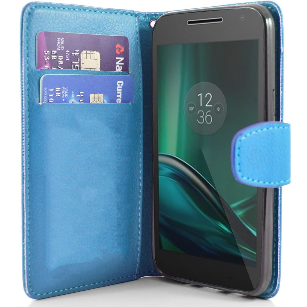 MOTO G4 Play PU Leather Wallet Case - Light Blue