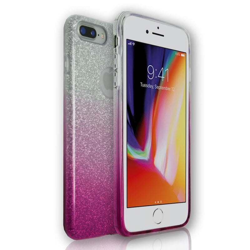 Apple iPhone 7 Plus - Pink Glitter Silicone Gel Fade Case