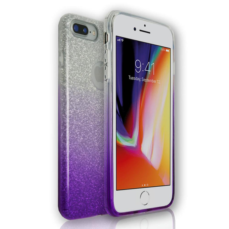 Apple iPhone 8 Plus - Purple Glitter Silicone Gel Fade Case