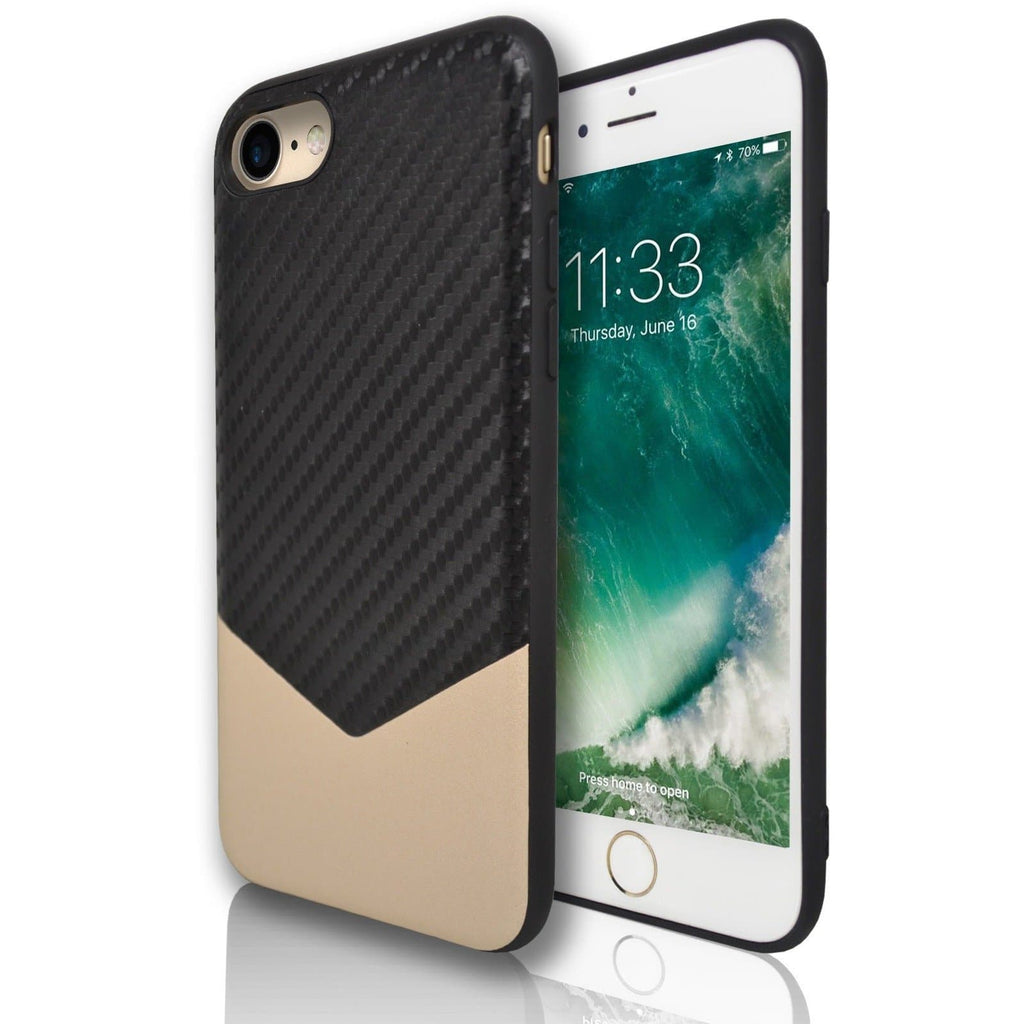 Apple iPhone 8 Plus Chevron Protective Silicone Case - Gold