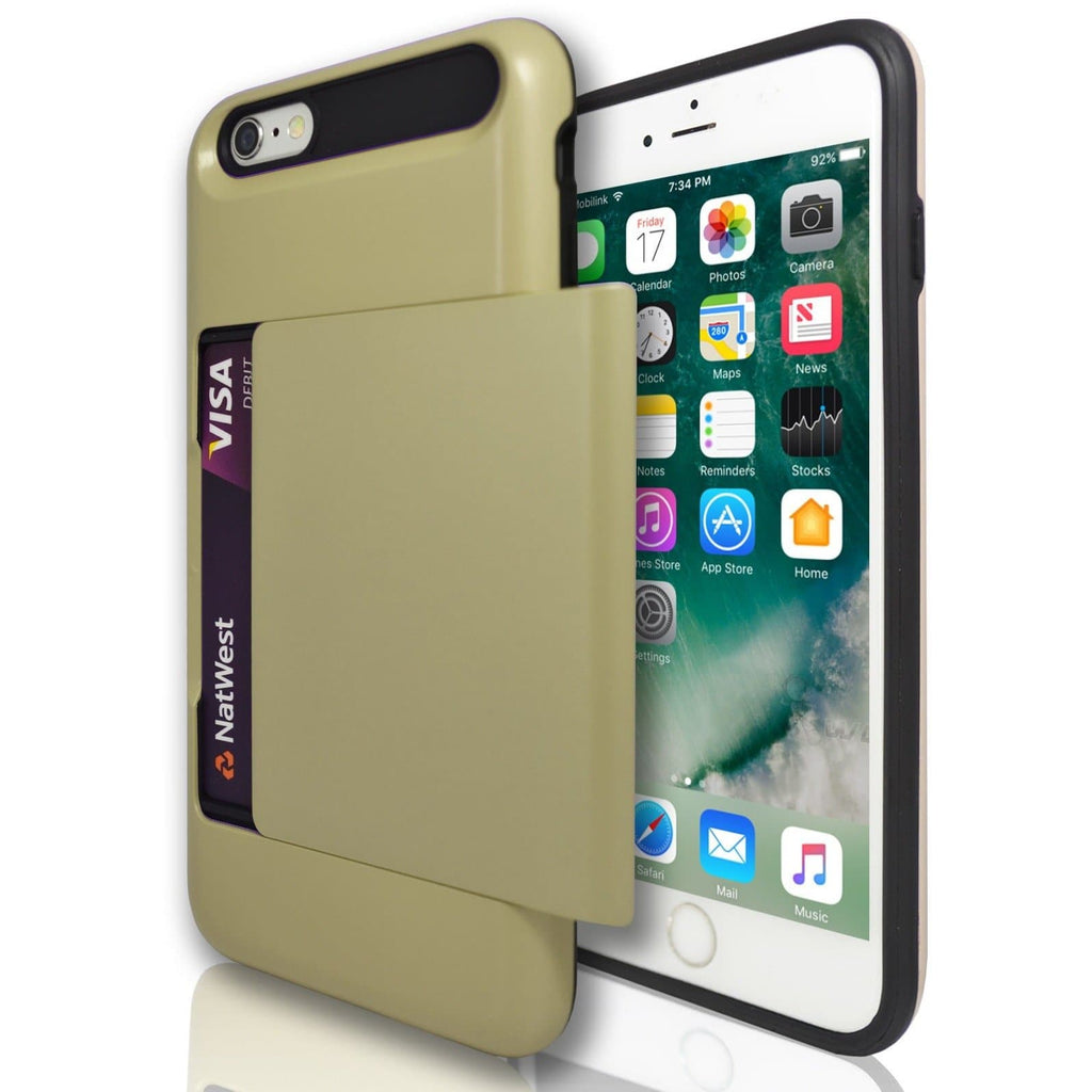 iPhone 6 Plus / 6S - Slide Out Card Holder Silicone Case- Gold