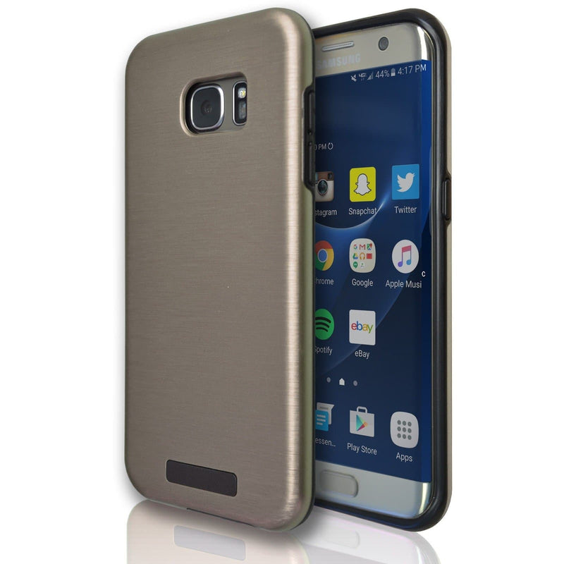 Samsung Galaxy S7 Edge Protective Brushed Silicone Case - Gold