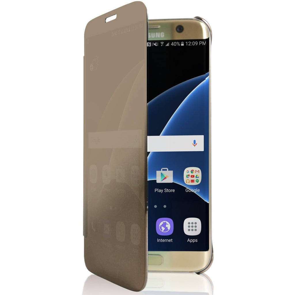 Samsung Galaxy S6 Mirror View Plastic Flip Case - Gold