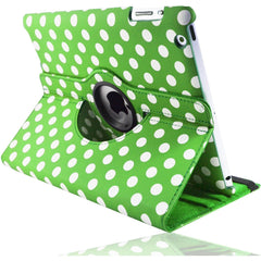 Apple iPad 2 / 3 / 4 - Polka Dot Pu Leather Book Flip Stand Case - Green