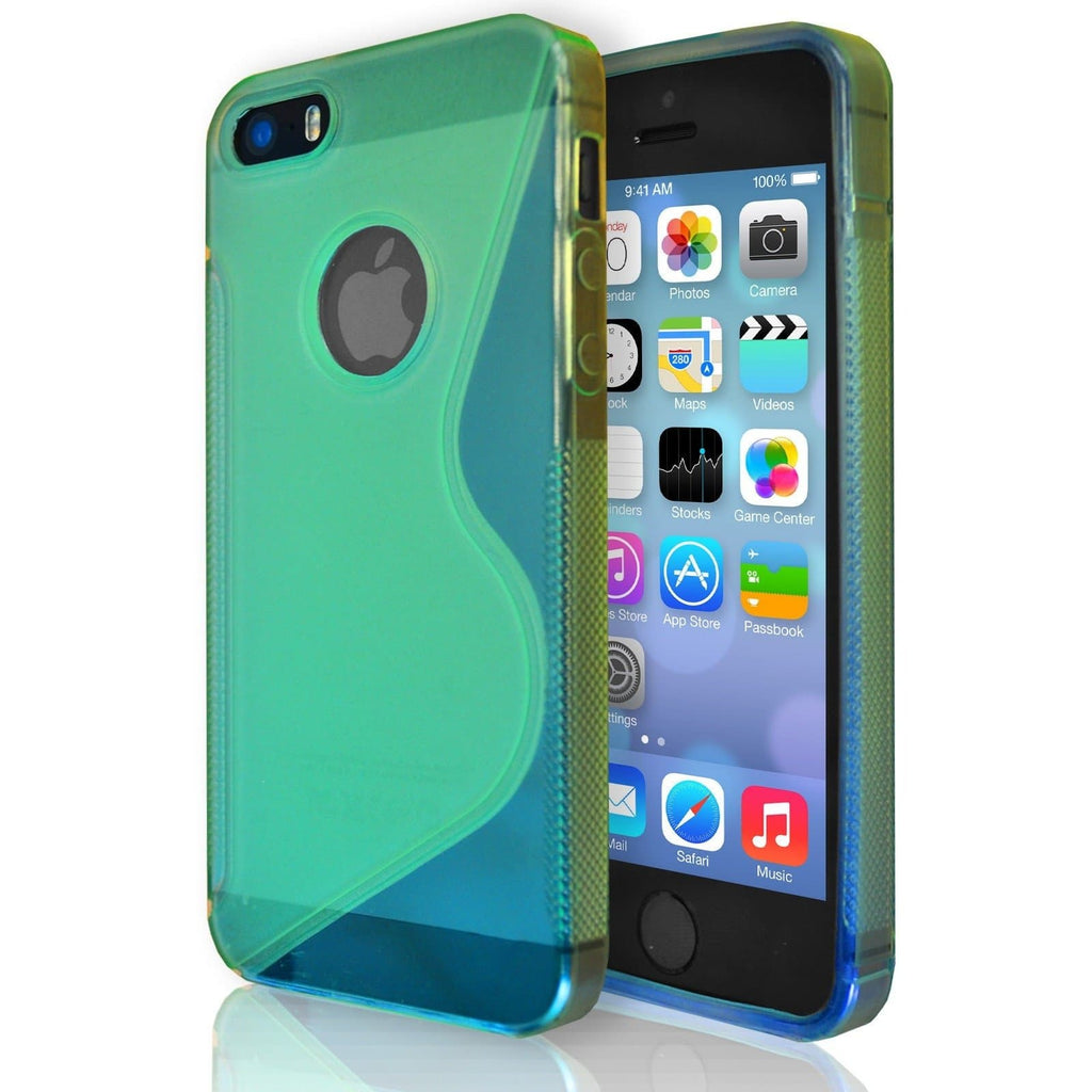 iPhone 5 / 5S / SE - S Line Gel Soft Silicone Case With Hole For Apple Logo - Green