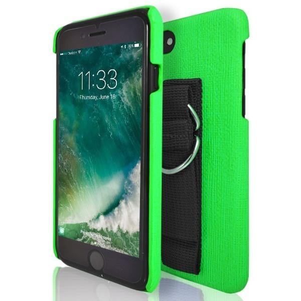 iPhone 7 Case- Protective Silicone With Rear Hand Strap Green