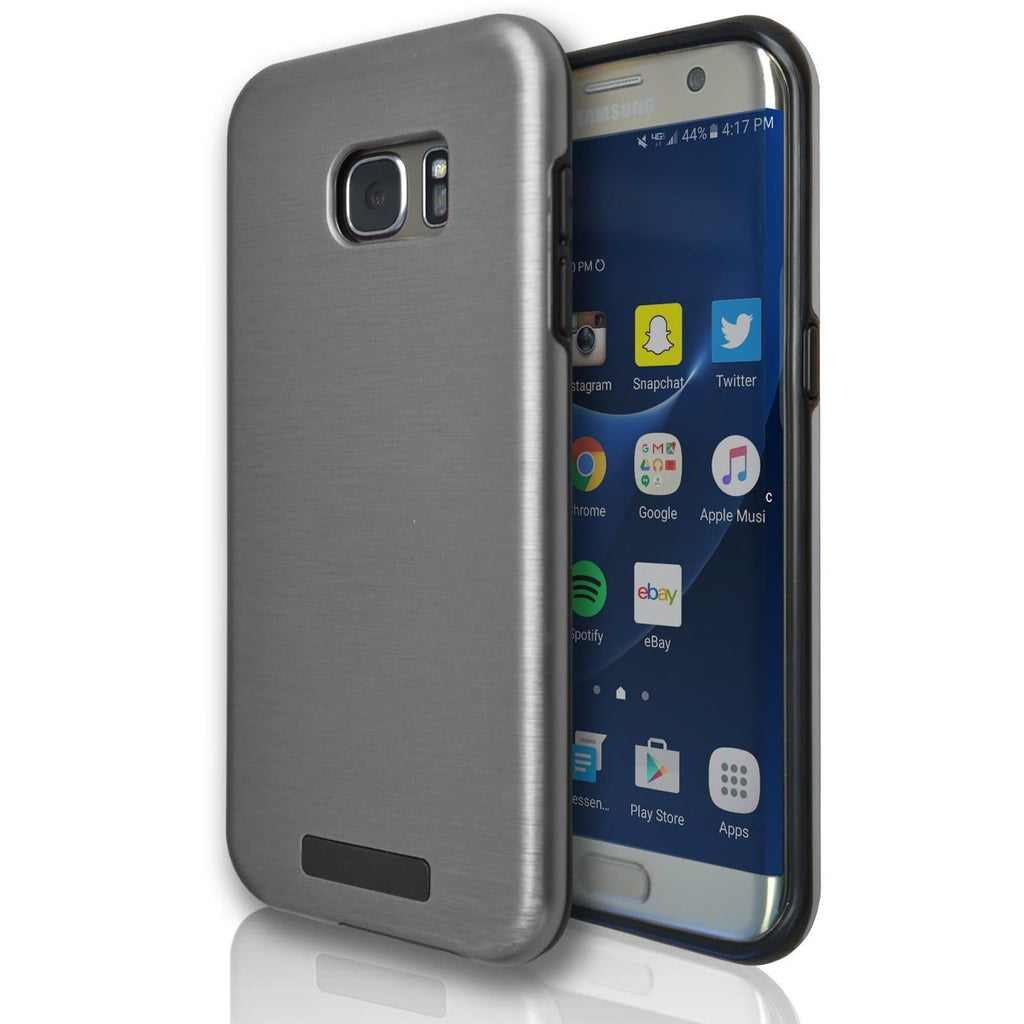 Samsung Galaxy S7 Edge Protective Brushed Silicone Case - Grey