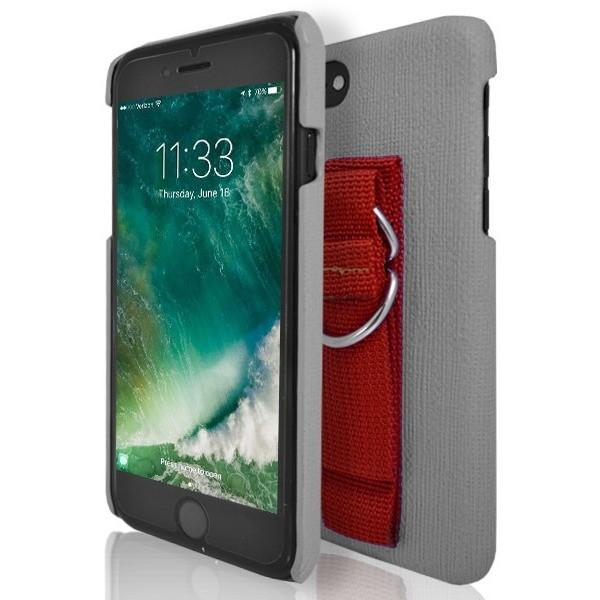 iPhone 7 Case- Protective Silicone With Rear Hand Strap Grey