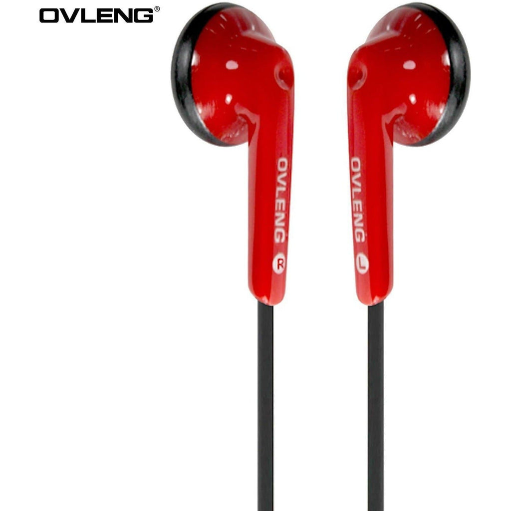 Headphones - Ovleng IP-510 Red Headphones MP3 Stereo In Ear Earphones + Mic
