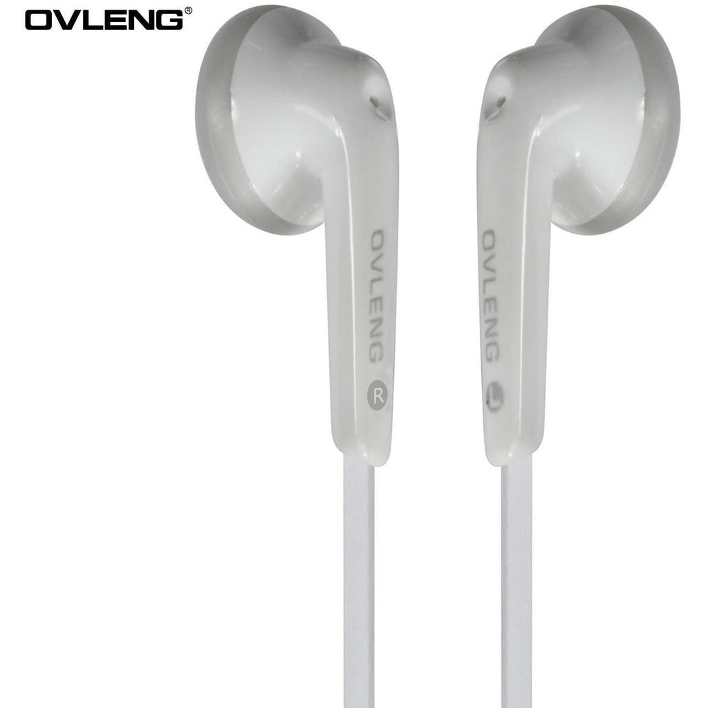 Headphones - Ovleng IP-510 White Headphones MP3 Stereo In Ear Earphones + Mic